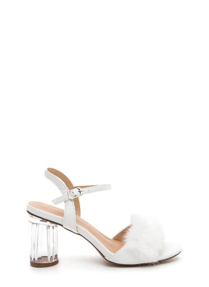 A Fur Effort Chunky Clear Heels