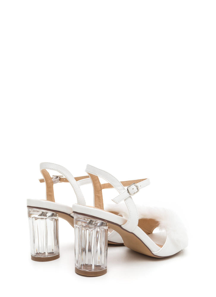 A Fur Effort Chunky Clear Heels WHITE