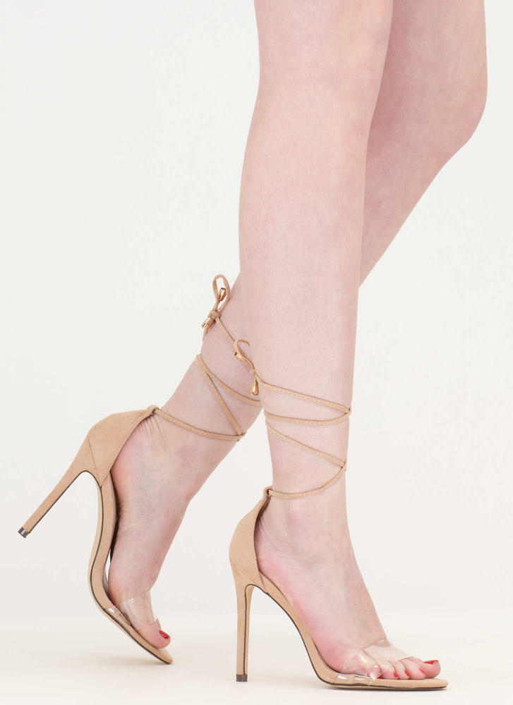 Keep Clear Tied Faux Suede Heels