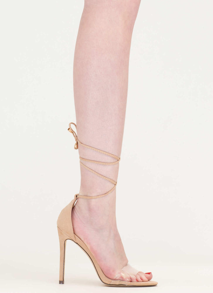 Keep Clear Tied Faux Suede Heels NUDE