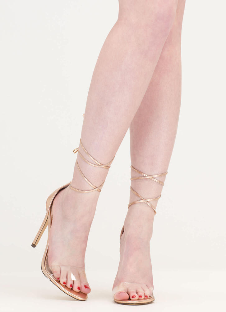 Keep Clear Metallic Faux Leather Heels ROSEGOLD