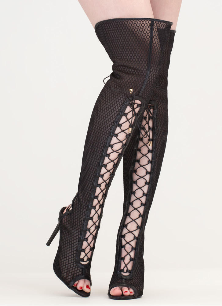 Lace Me Up Netted Mesh Thigh-High Boots BLACK