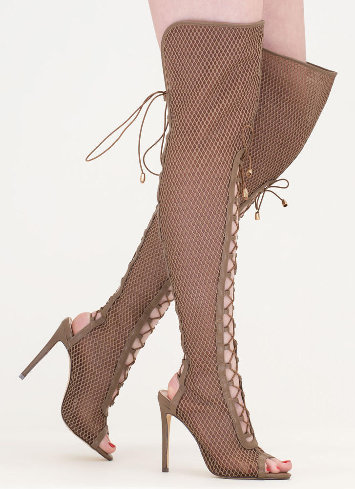 Lace Me Up Netted Mesh Thigh-High Boots