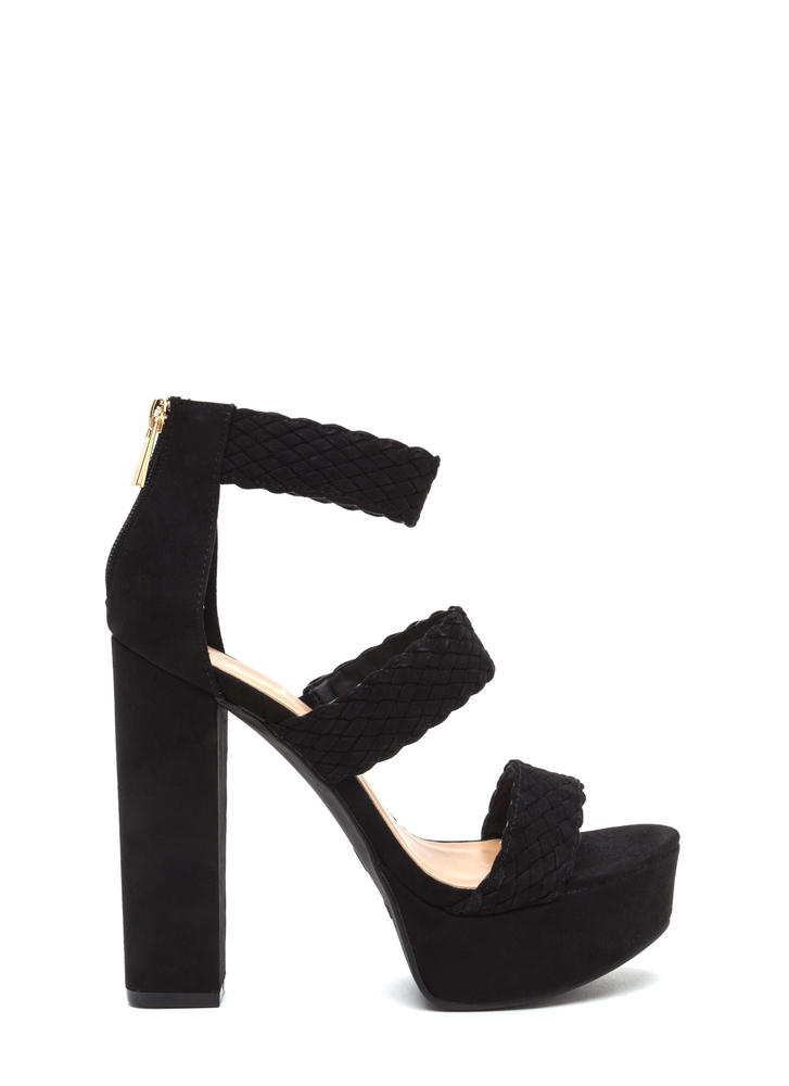 Go For Bold Strappy Woven Chunky Heels