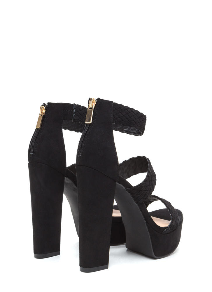 Go For Bold Strappy Woven Chunky Heels BLACK