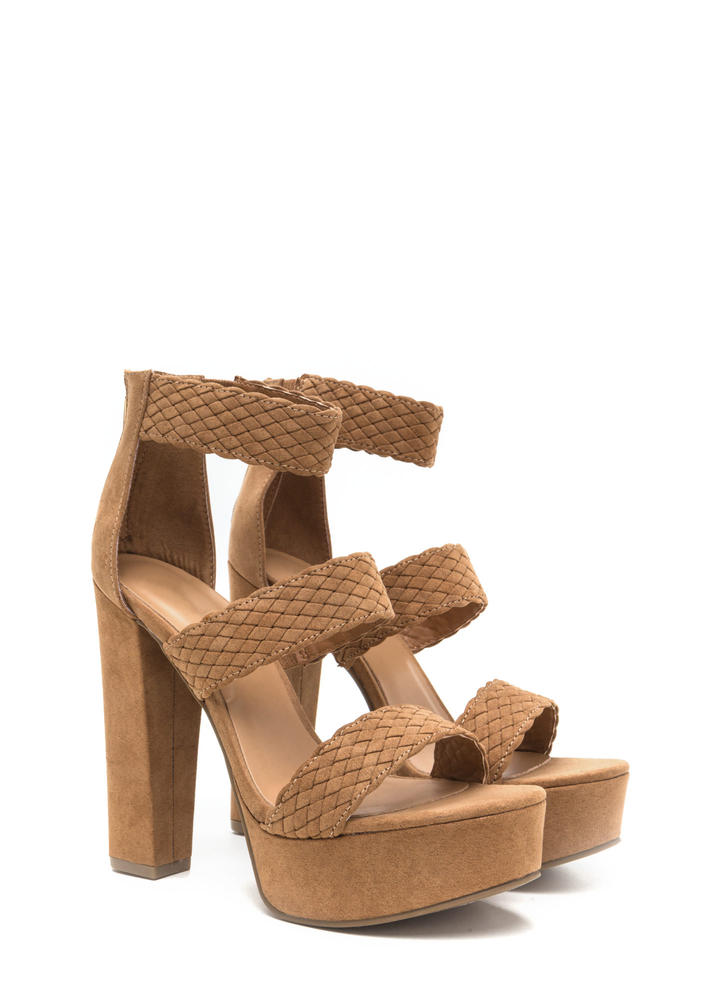 Go For Bold Strappy Woven Chunky Heels TAN