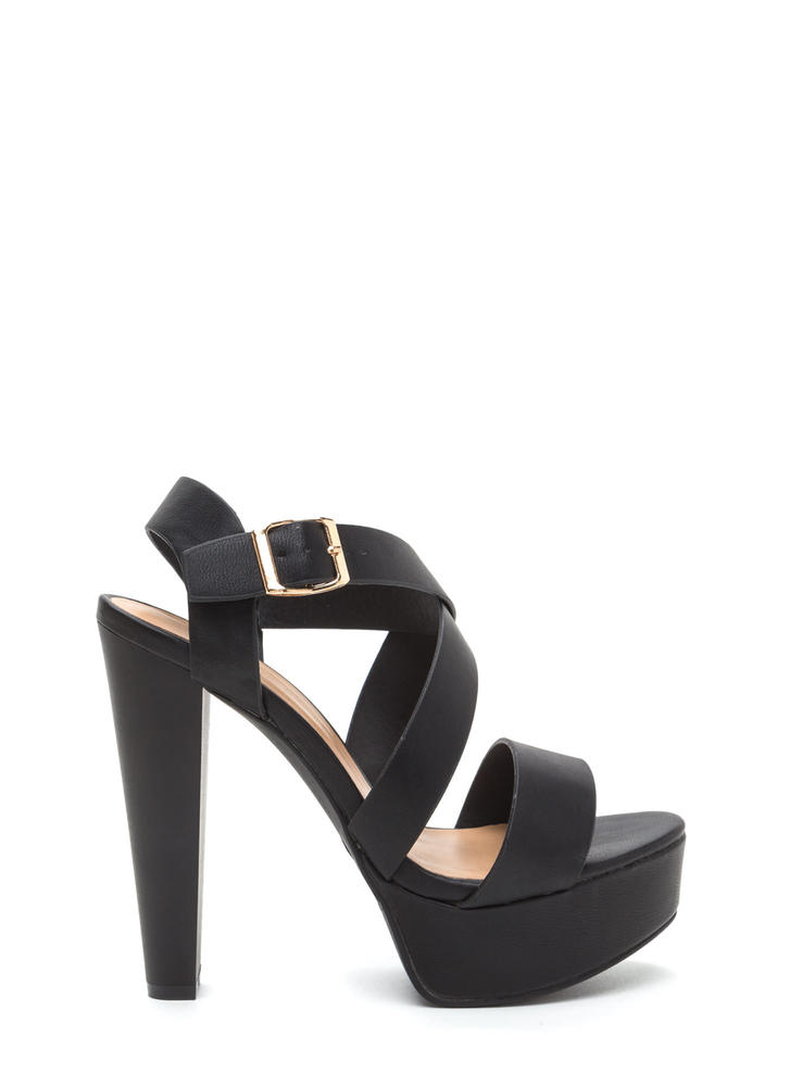 Strappy Days Are Here Chunky Cone Heels BLACK