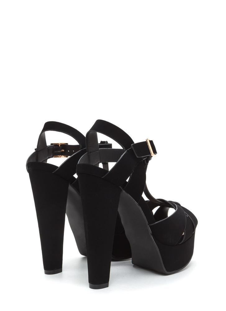 Cage Limit Chunky Faux Nubuck Cone Heels BLACK