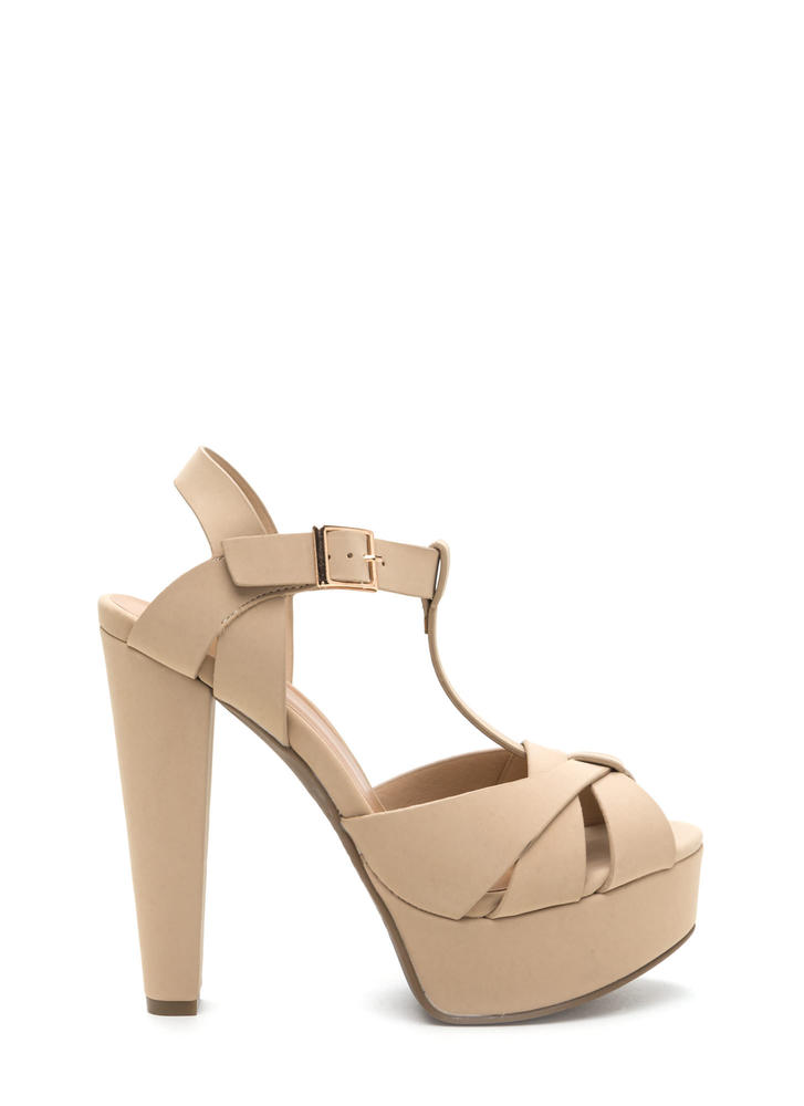 Cage Limit Chunky Faux Nubuck Cone Heels
