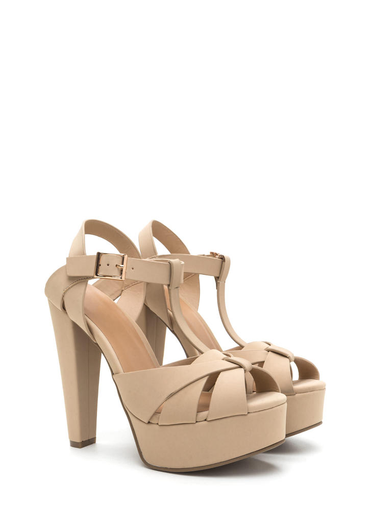 Cage Limit Chunky Faux Nubuck Cone Heels NUDE