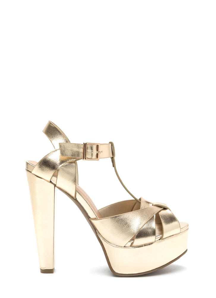 Cage Limit Chunky Metallic Cone Heels