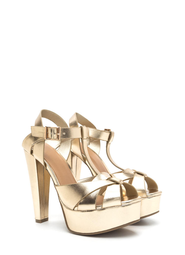 Cage Limit Chunky Metallic Cone Heels GOLD