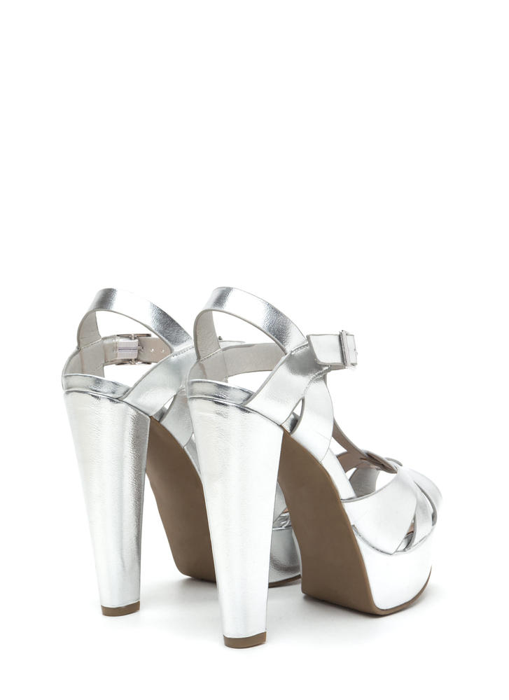 Cage Limit Chunky Metallic Cone Heels SILVER
