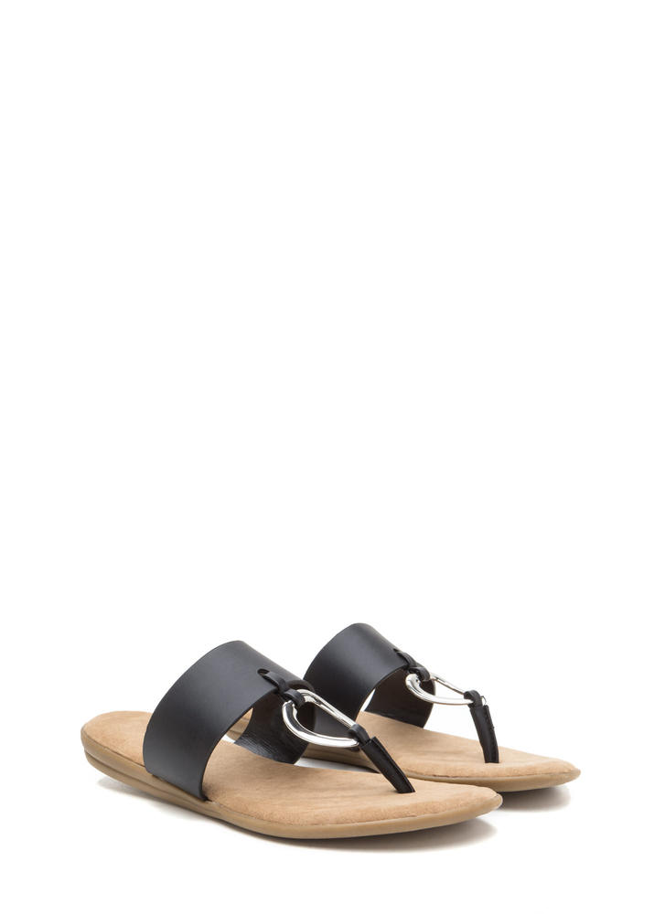 I'll Ring You Faux Leather Thong Sandals BLACK