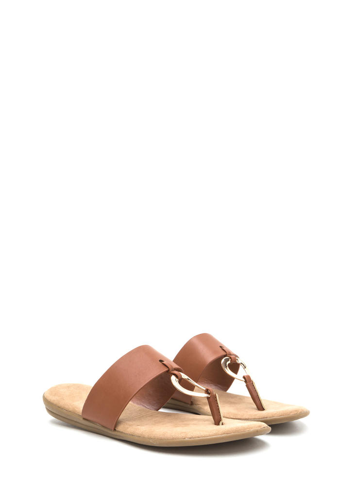 I'll Ring You Faux Leather Thong Sandals TAN