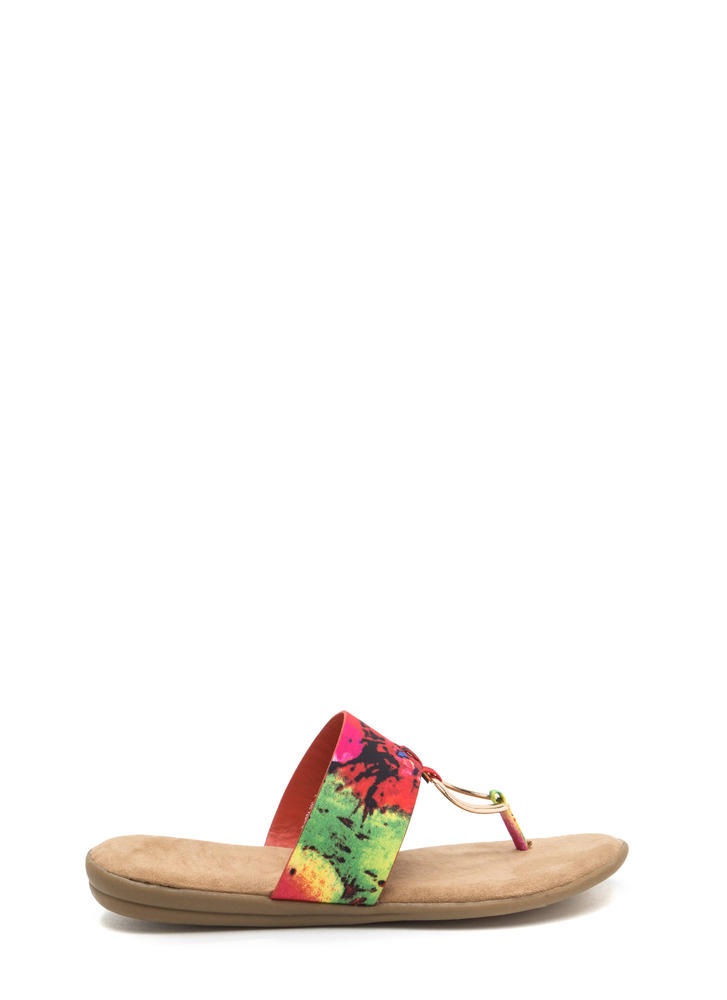 I'll Ring You Abstract Print Thong Sandals