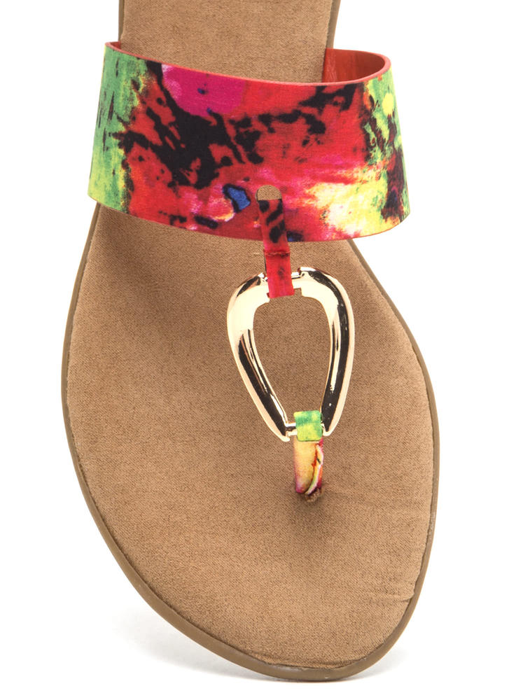 I'll Ring You Abstract Print Thong Sandals REDMULTI