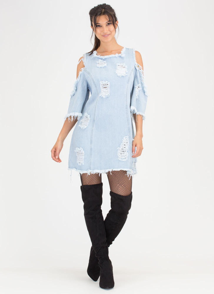 Feeling Destroyed Denim Shift Dress