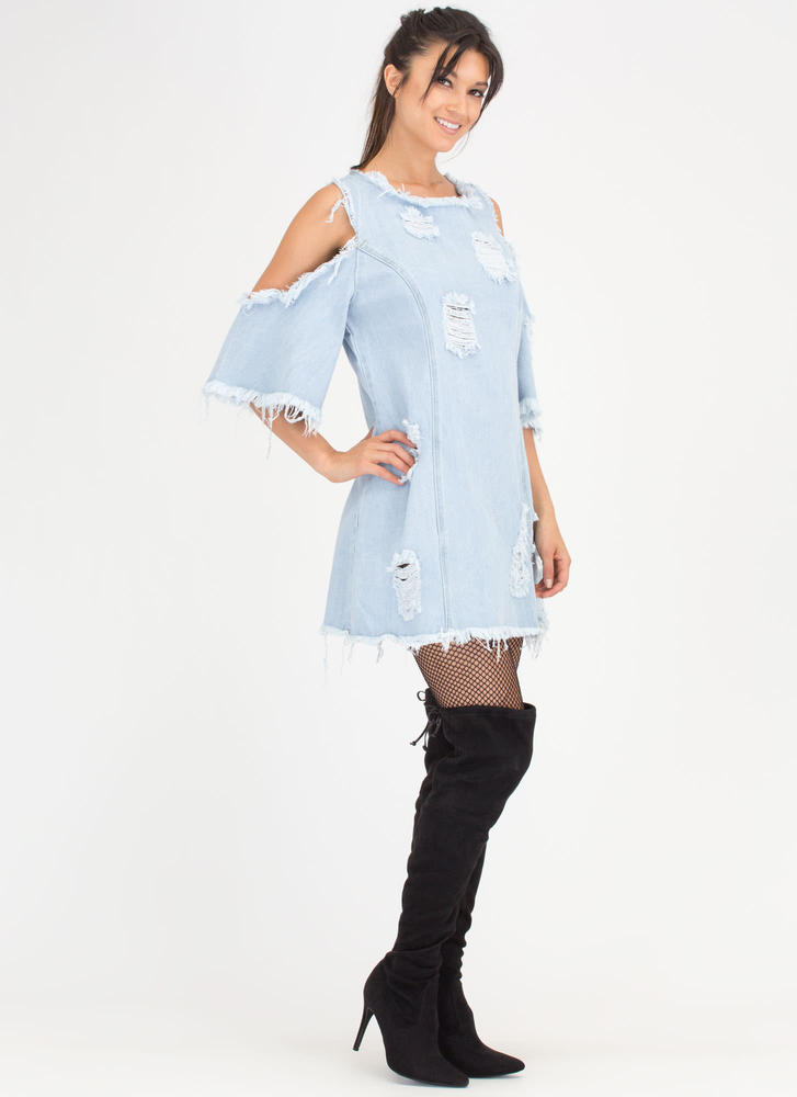 Feeling Destroyed Denim Shift Dress LTBLUE