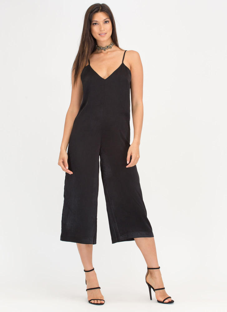 Runway Ready Satin Culottes Jumpsuit BLACK