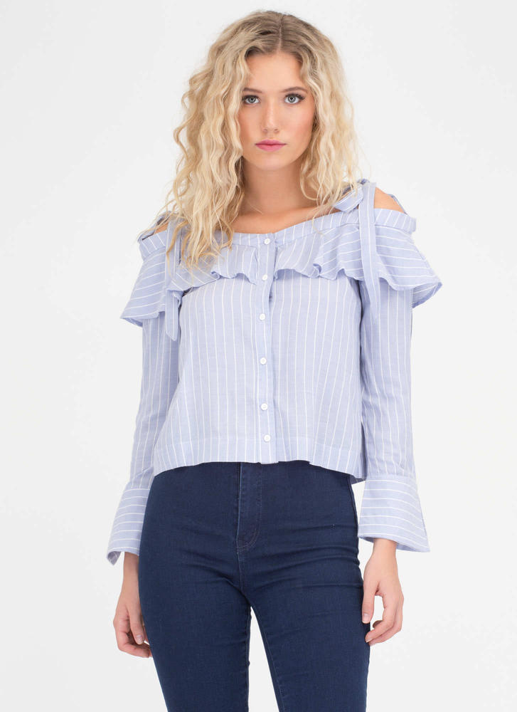 All Tied Up Ruffled Pinstripe Blouse
