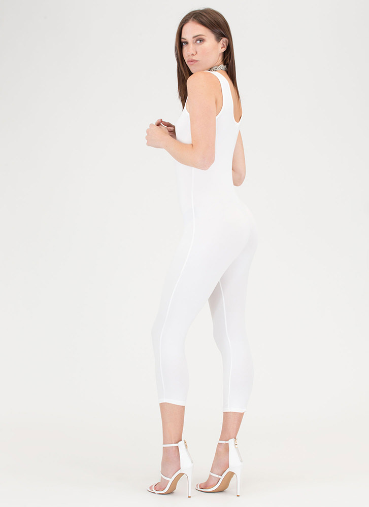 Short And Simple Cropped Full Bodysuit IVORY