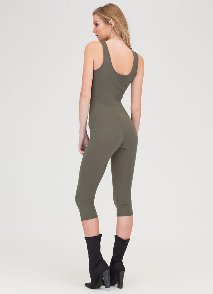 Short And Simple Cropped Full Bodysuit OLIVE