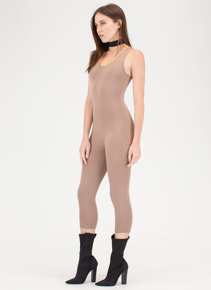 Short And Simple Cropped Full Bodysuit TAUPE