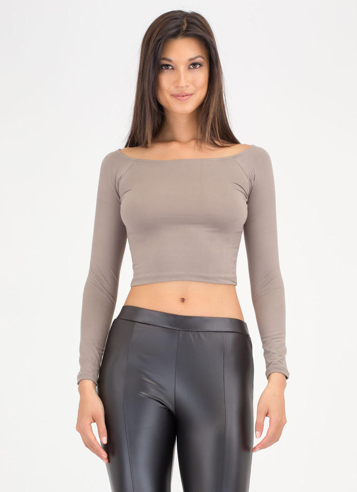 Basically Beautiful Wide Neck Top TAUPE