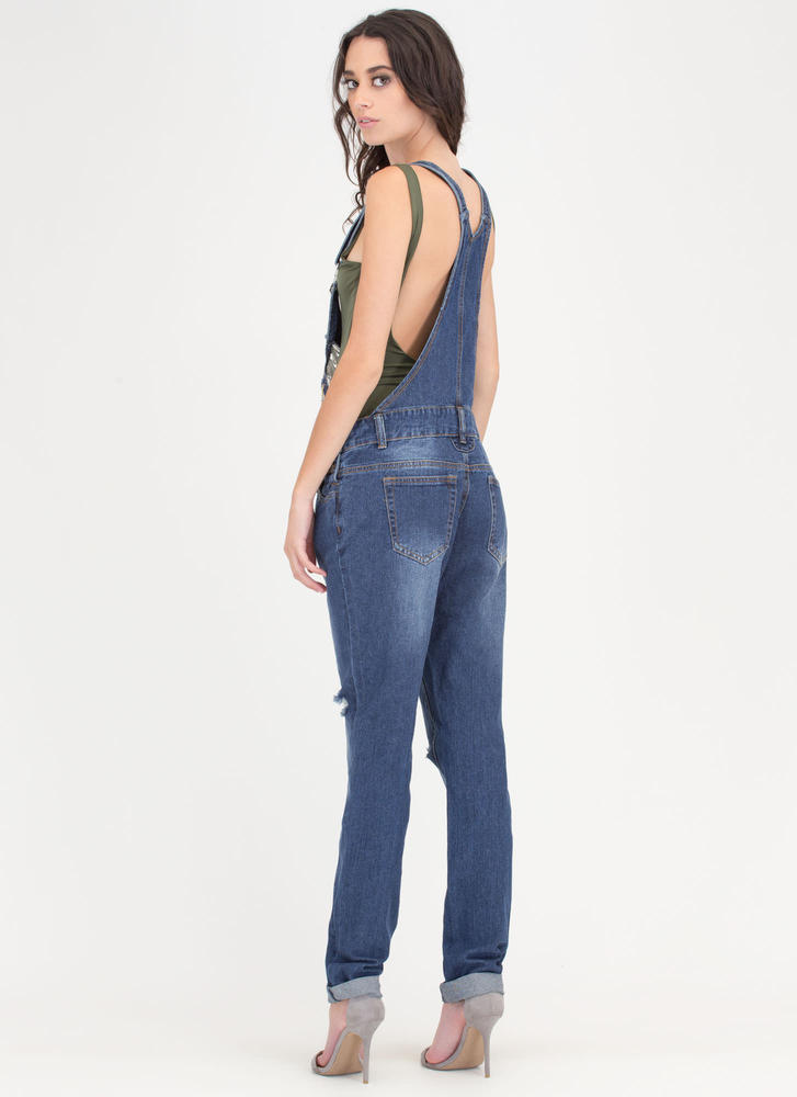 Chain Letters Distressed Denim Overalls DKBLUE