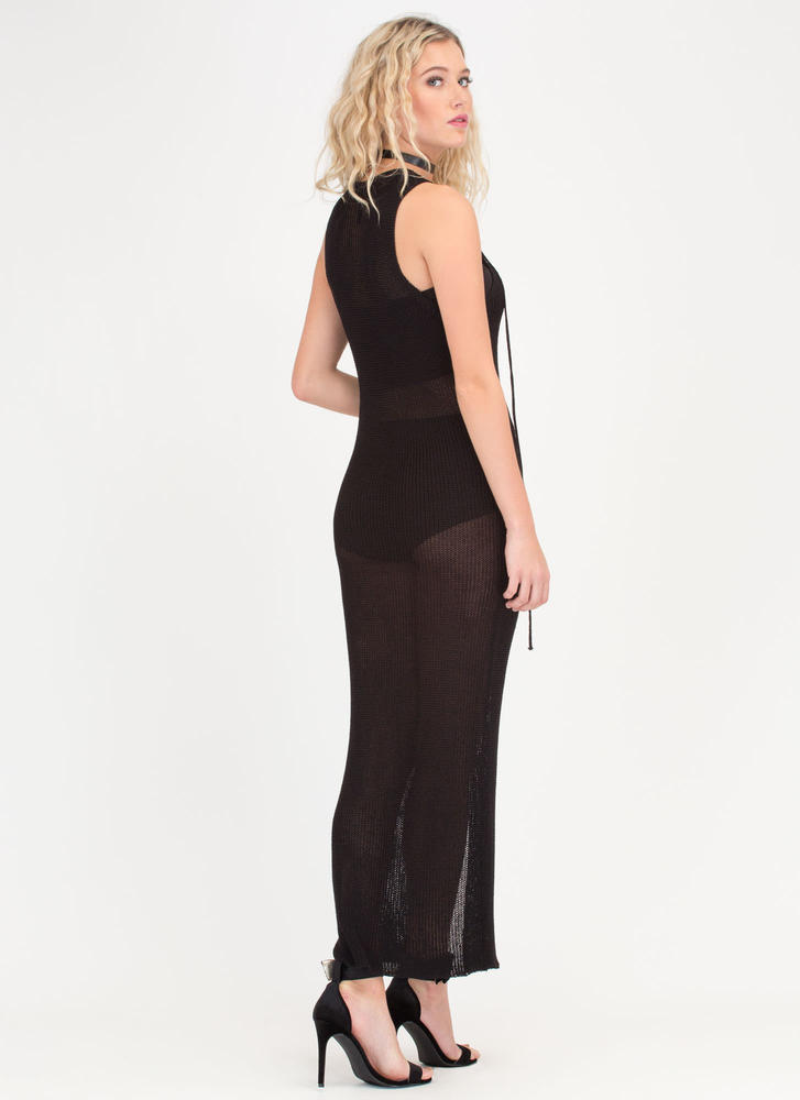 Net On With It Sheer Lace-Up Maxi Dress BLACK