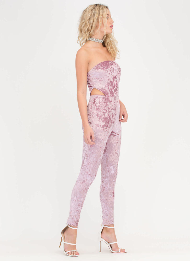 Crush On It Velvet Cut-Out Jumpsuit PINK