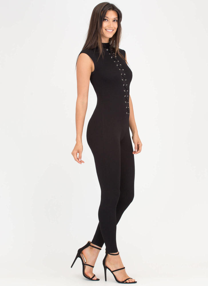 X Marks The Spot Mockneck Jumpsuit BLACK