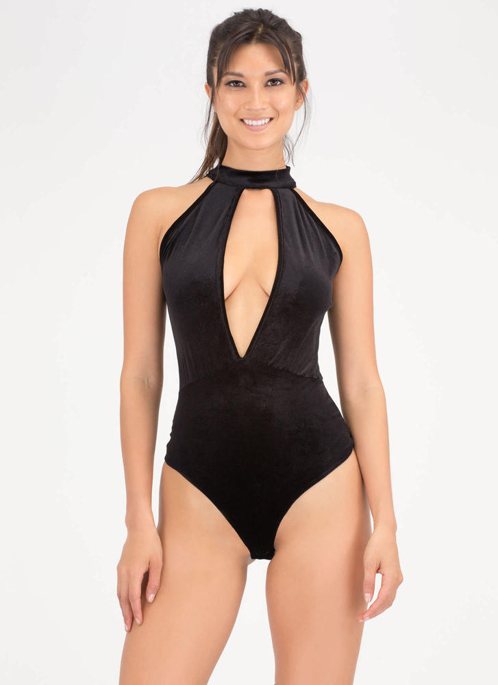 Plunge Into Velvet Thong Bodysuit BLACK