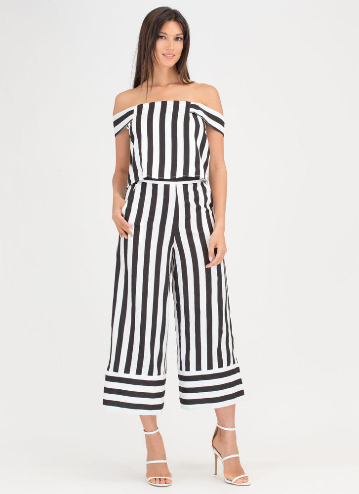 Stripe Out Cropped Palazzo Pants