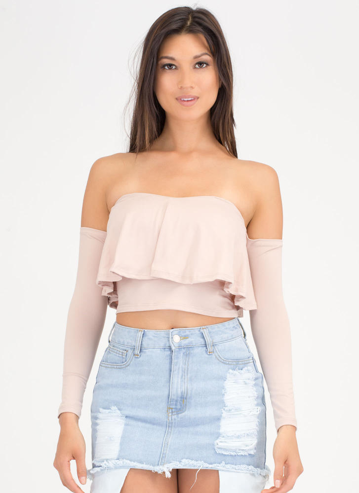 Taking Drape Ruffled Off-Shoulder Top TAUPE