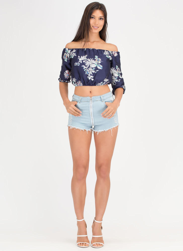 Drawing Flowers Silky Off-Shoulder Top NAVY