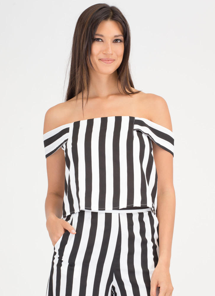 Stripe Out Off-Shoulder Linen Top BLACKWHITE