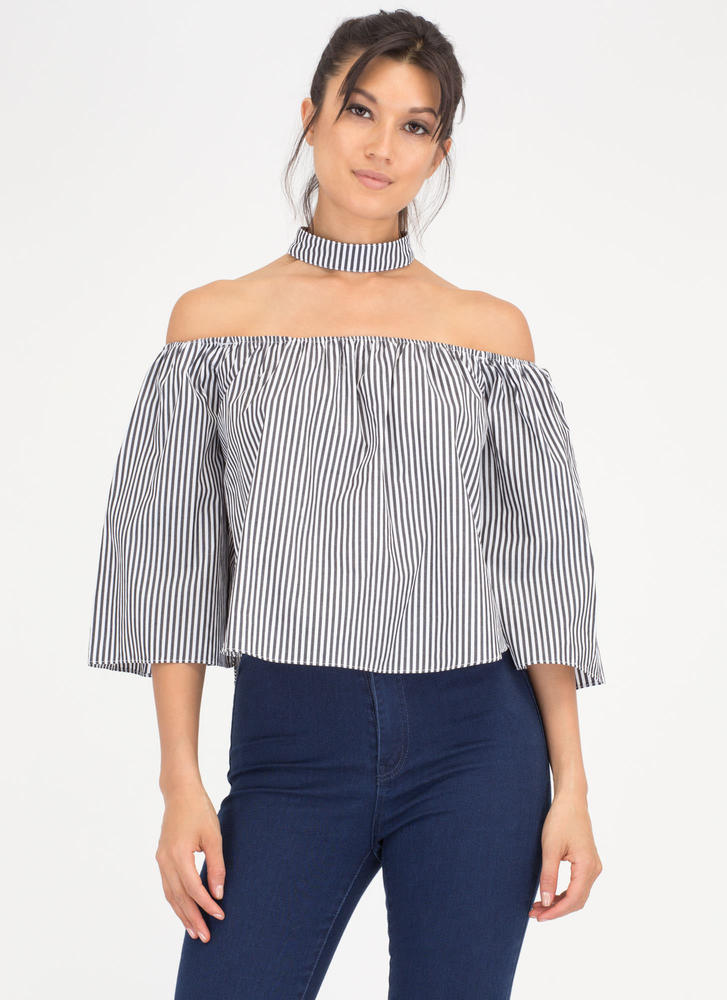 Chokers Wild Pinstriped Off-Shoulder Top BLACKWHITE