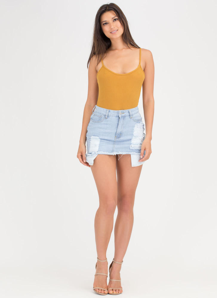 Get The Real Scoop Rib Knit Bodysuit MUSTARD