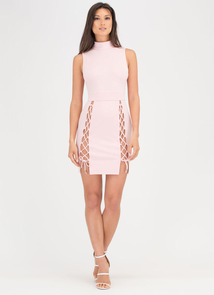 All Legs Mockneck Lace-Up Dress