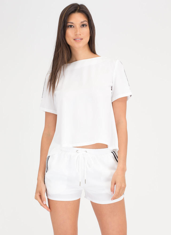 Star Athlete Striped Top And Shorts Set WHITE