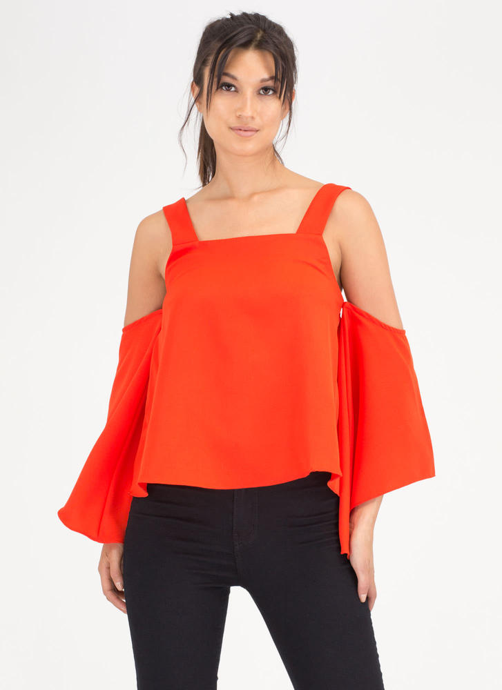 Breeze Along Cold Shoulder Swing Top
