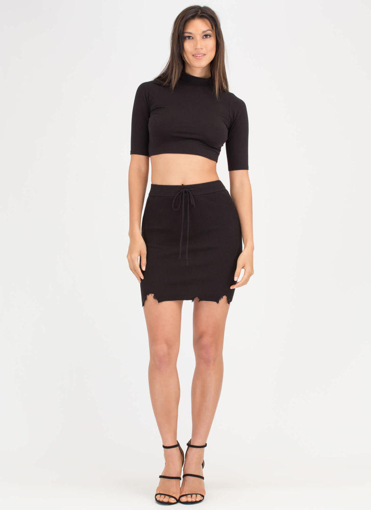 Snip Snip Distressed Rib Knit Skirt BLACK