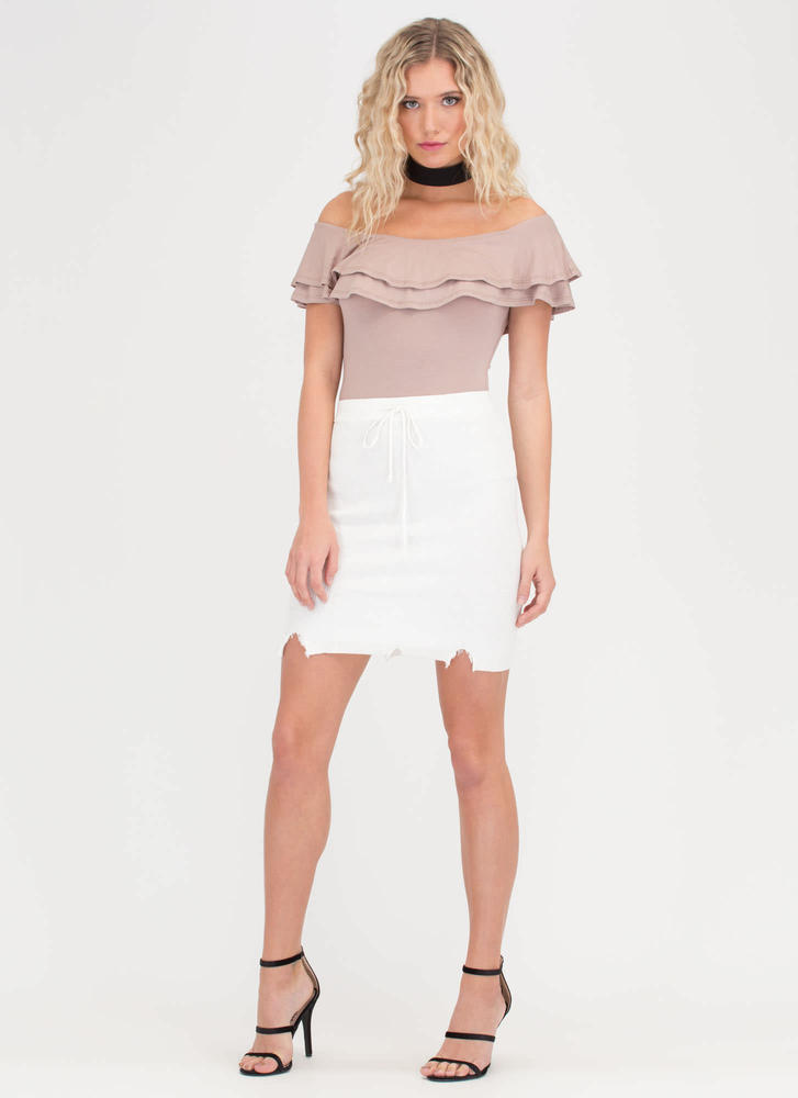 Snip Snip Distressed Rib Knit Skirt IVORY