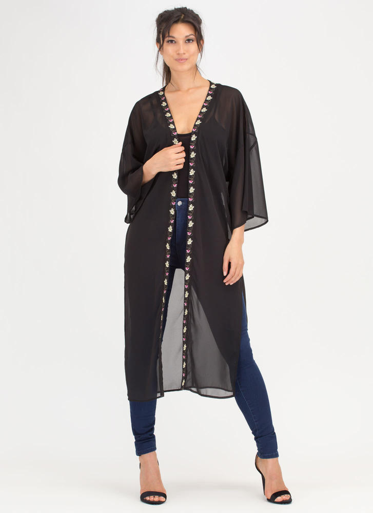 Vine Star Embroidered Flower Kimono BLACK