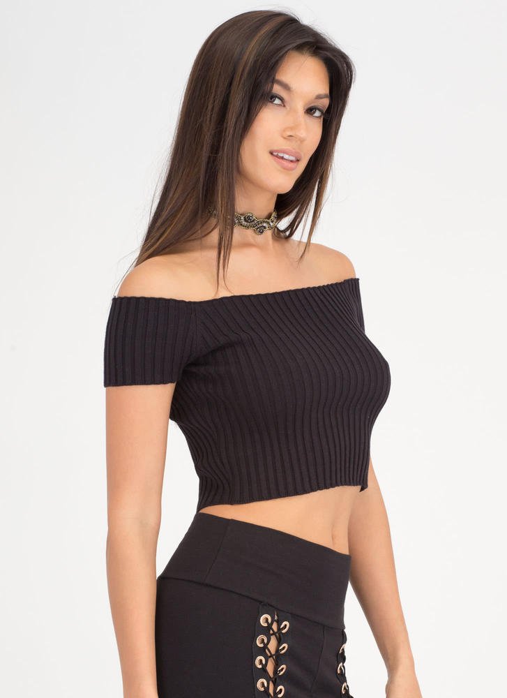 Go Ribbed Off-Shoulder Crop Top BLACK
