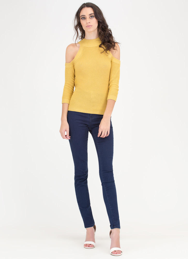 Out In The Cold-Shoulder Knit Sweater MUSTARD