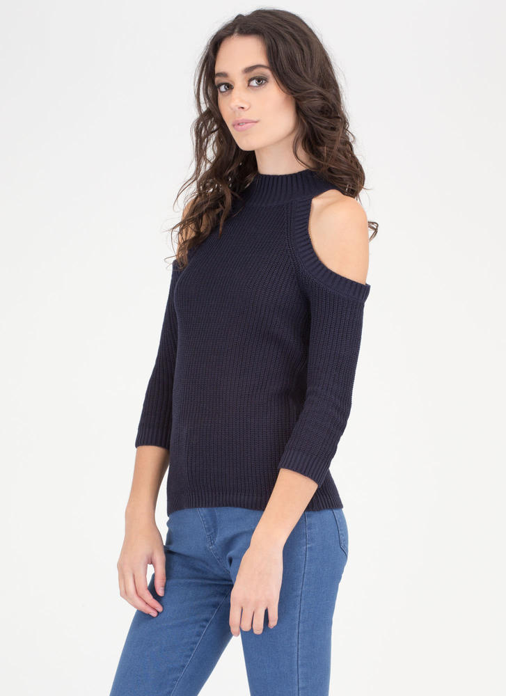 Out In The Cold-Shoulder Knit Sweater NAVY