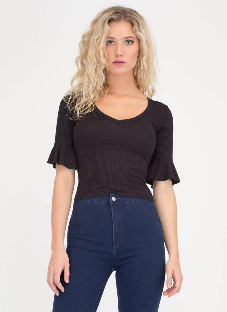 Saved By The Bell Sleeve Rib Knit Top